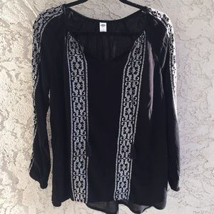 Old Navy - Black Long Sleeve Blouse with Tassels